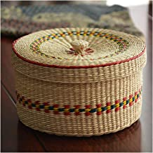 MAHFEI Rattan Tea Caddy Storage Box, Hand-Woven Round Storage Basket Rattan Woven With Cover Dried Fruit Box With Lid Suit...