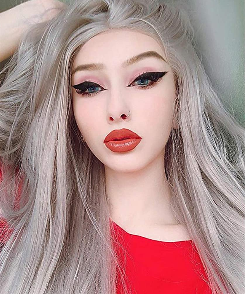 eNilecor Silver Platinum Blonde Lace Front Wig Long Natural Wavy Middle Part Synthetic Replacement Hair Grey Wigs Soft Heat Resistant Ash Wigs for Women 24