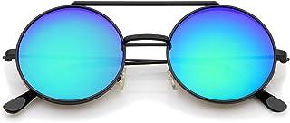 zeroUV - Mid Size Flip-Up Colored Mirror Lens Round Django Sunglasses 49mm