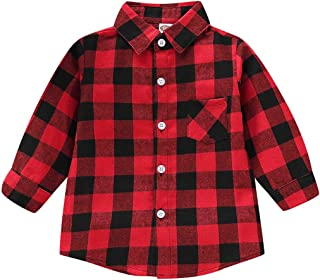 LYSmuch Toddler Baby Boys Girls Plaid Shirts Flannel Shirt Long Sleeve Button-Down Shirts Tops Kids Spring Fall Winter