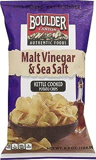 Boulder Canyon Authentic Foods Sunflower Oil Kettle Cooked Potato Chips- 6.5 oz. Bags (Malt Vinegar & Sea Salt, 3 Bags)