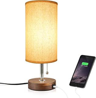 957d407df59 Hong-in Solid Wood Table Lamp Minimalist Design Bedside Nightstand Lamp  with USB Charging Port