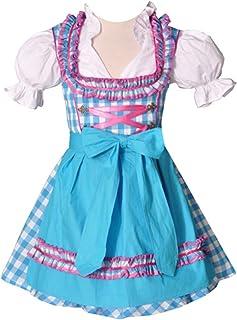Bayer Madl Kinderdirndl Carolin - Mädchendirndl in türkis und pink inkl. Schürze und Bluse - Trachtenset 3-TLG. - Größen 92-152