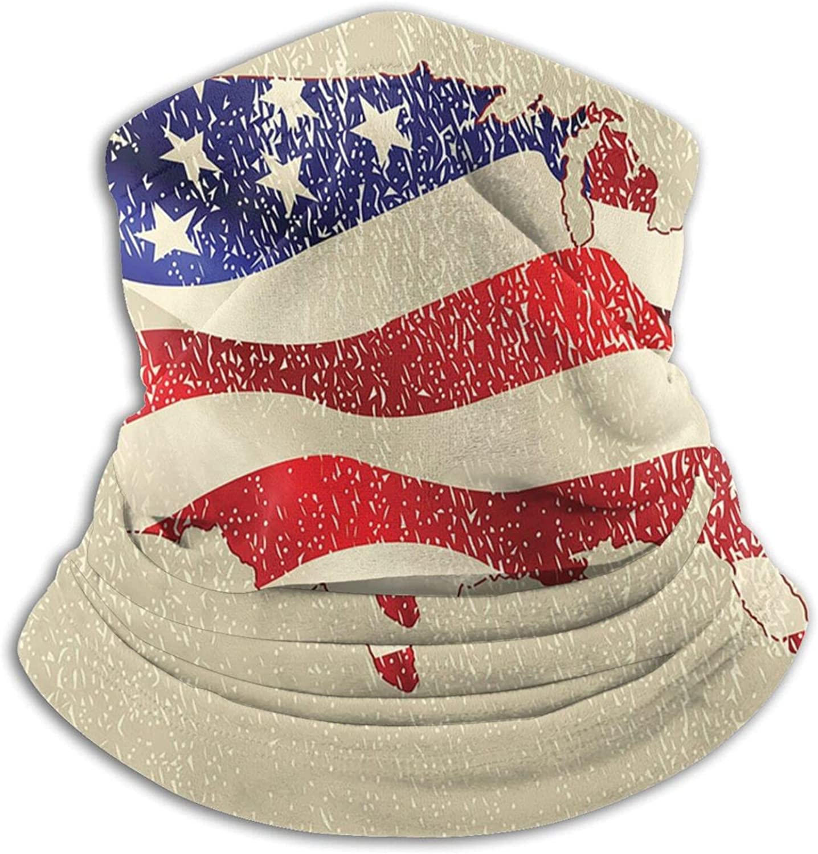 Winter Neck Gaiter Warmer Soft Face Mask Scarf American Flag map Outdoor Sports Neck Warmer Headwear for Men Women Black