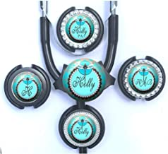 Personalized Teal and Brown Dragonfly Stethoscope Id Name Tag Adjustable to Fit Cardiology or Standard Steth