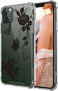 Case for iPhone 11 pro,Cutebe Shockproof Series Hard PC+ TPU Bumper Protective Case for Apple iPhone 11 Pro 5.8 Inch Black Flowers