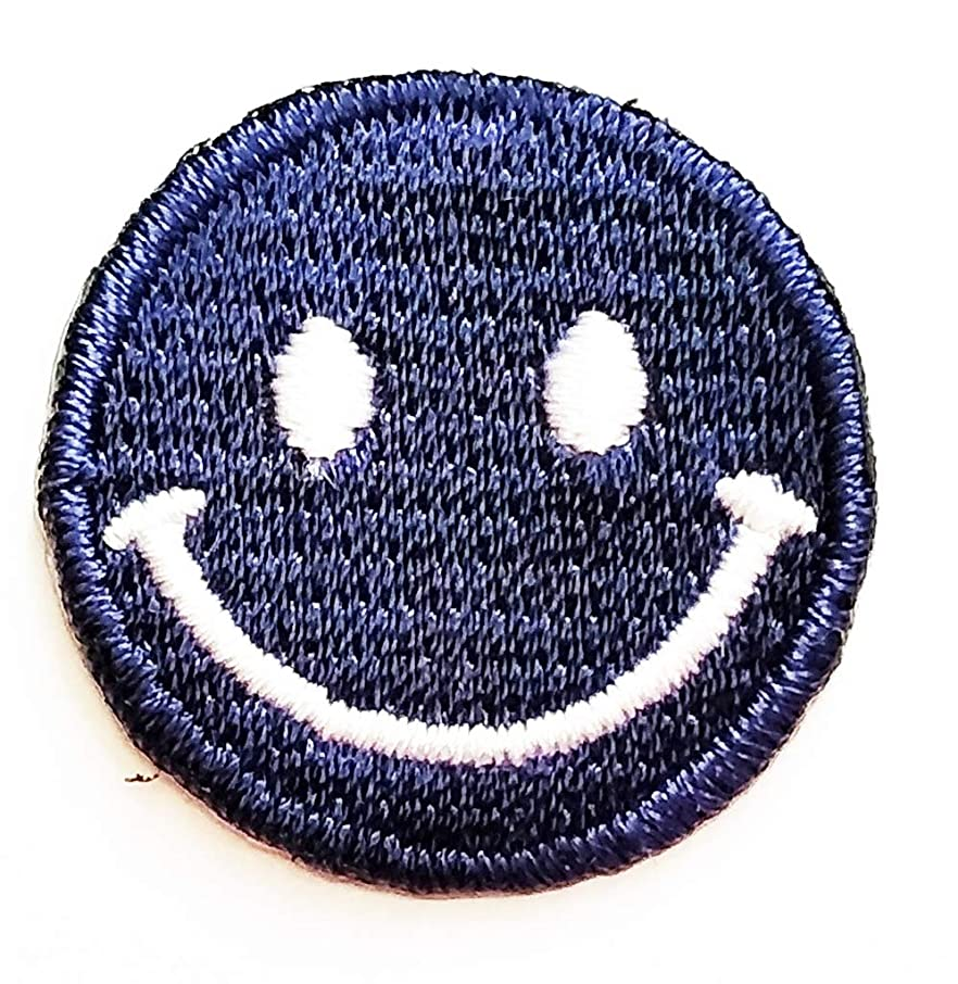 PP Patch Mini Cute Blue Face Emoji Smile Happy Cartoon Kids Iron on Patch Iron-On Designer Patch Used for Gifts Crafts Jeans Clothing Fabric Costume Symbol DIY