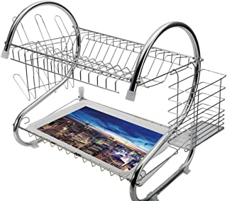 Stainless Steel 2-Tier Dish Drainer Rack City Kitchen Drying Drip Tray Cutlery Holder Empire State and Skyscrapers of Midtown Manhattan New York Aerial View at Dusk,Tan Navy Blue Aqua,Storage Space Sa