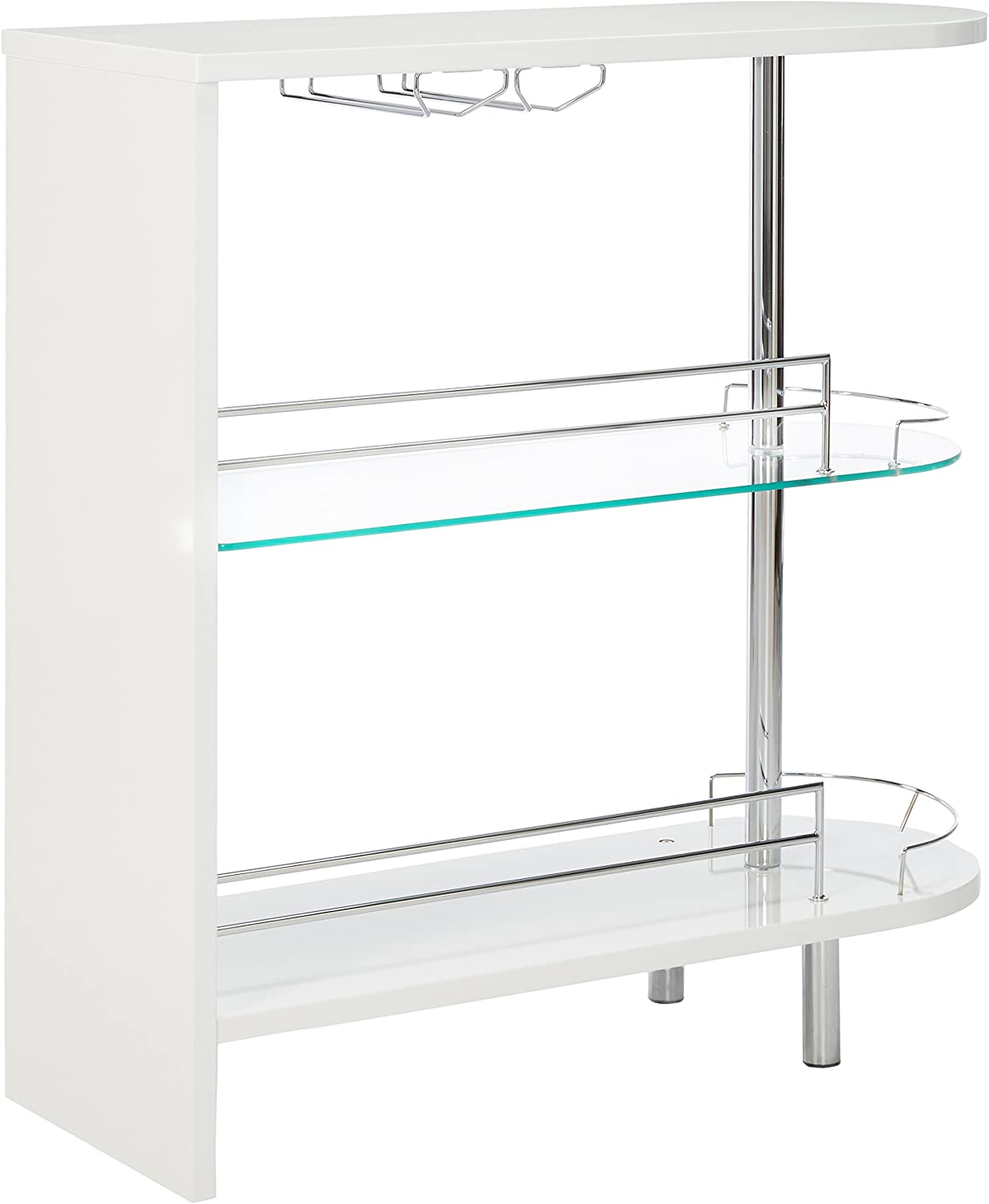 COASTER 2-holder 4 years Clearance SALE! Limited time! warranty Bar Table White Clear Glossy