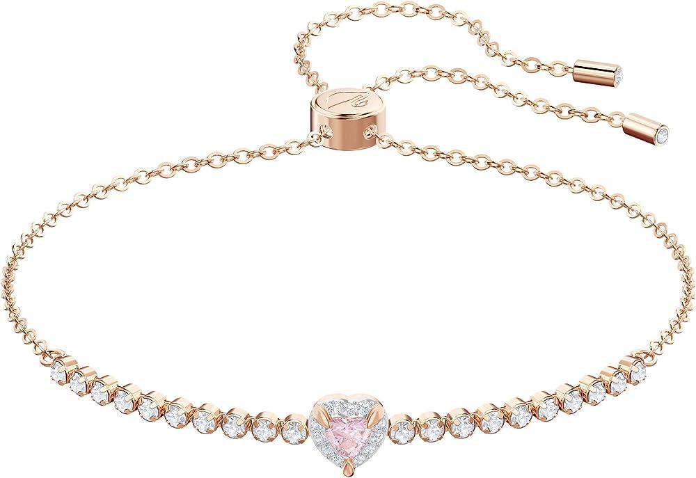 Swarovski braccialetto one per donna, multicolore, placcato oro rosa 5446299
