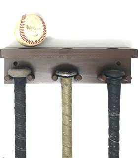 Baseball Softball Bat Rack Display Meant to Hold up to 5 Full Size Bats and 3 Baseballs Brown Holder