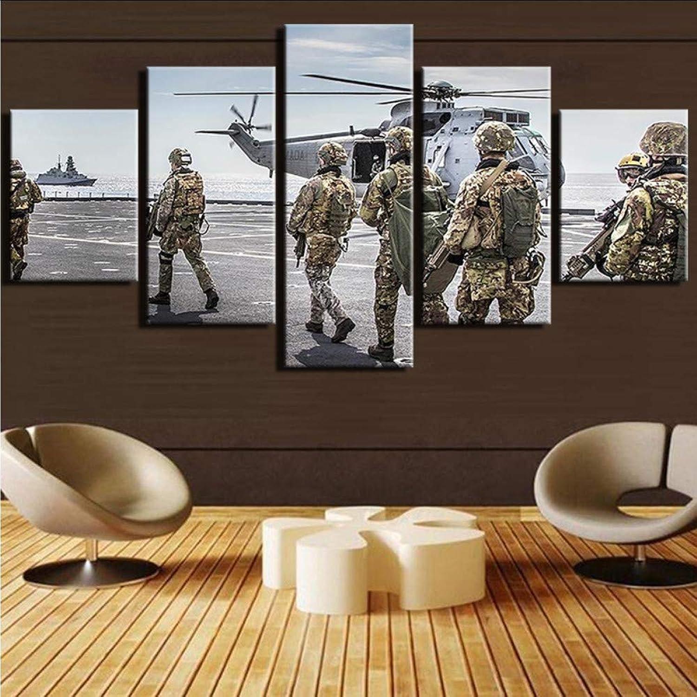 n ° 1 en línea Ljtao Pinturas 5 5 5 Panel Aviones Militares Lienzo Marcos Modernos Pintura SoldadosDecoración para El Hogar Impresión del Arte Cuadros Modulares-20Cmx35 45 55Cm-Frame  El nuevo outlet de marcas online.