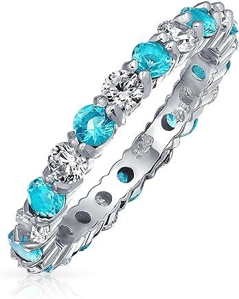 Bling Jewelry 贝灵珠宝 925纯银 仿海蓝宝石锆石 永恒戒指 纽约直邮 【亚马逊海外卖家】