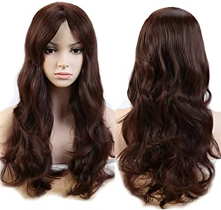 S-noilite Women Long Wavy Medium Brown Hair Wigs With Bangs Natural Daily Party Cosplay Costume Heat Resistant Synthetic Full Wig 19inch Curly