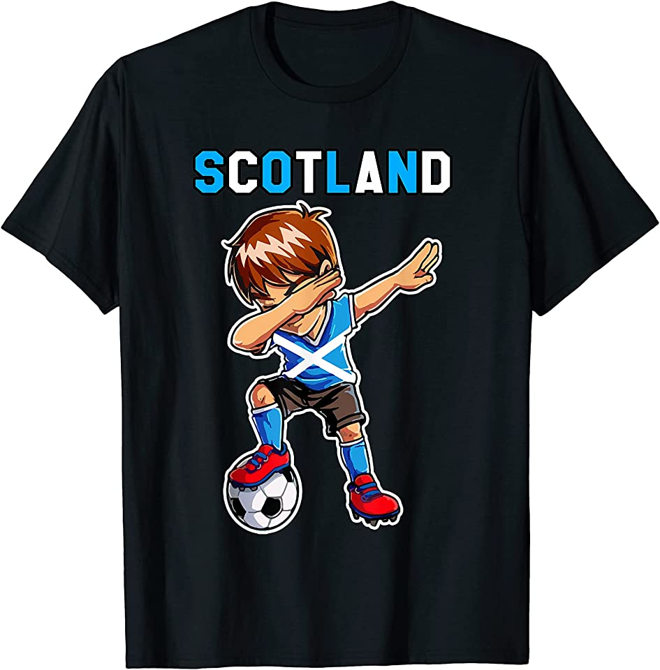 Dabbing Soccer Boy Scotland funny men women kids Scotland T-Shirt