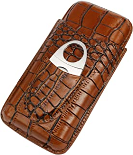 AMANCY Classy Brown Crocodile Genuine Leather Cigar Tube Case with Cutter Gift Set