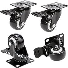 Herenear 50mm Ruedas Pivotantes ruedas giratorias para Muebles con Carga Mayor de 400Kg Set de 4 Ruedas de Hierro con Freno de Goma Negro (type 1)