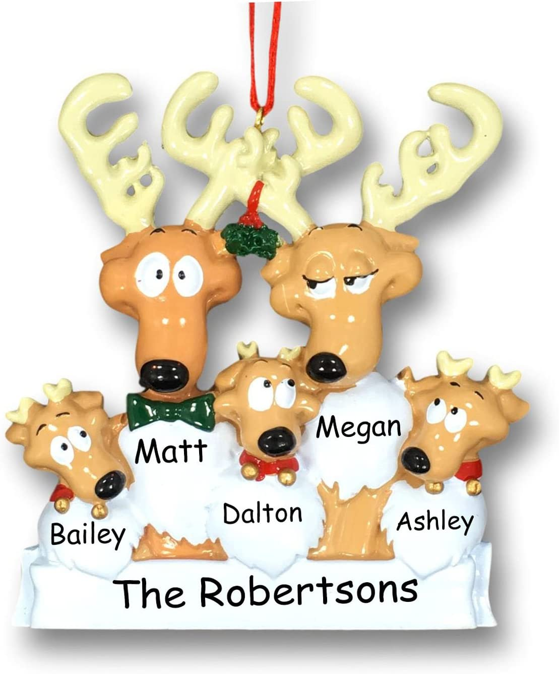 Personalized Christmas Holiday Cheap mail order specialty store Reindeer Family of Mistlet Detroit Mall with 5
