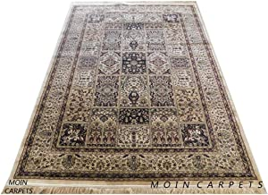 Moin Carpets Traditional Kashmiri Silk Carpets for Living Room and Home 6 x 9 Feet Ivory