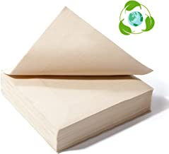 Recycled Post Consumer Napkins, Compostable Biodegradable Unbleached Eco Lunch Napkins, 50 PCS Disposable Dinner Napkin