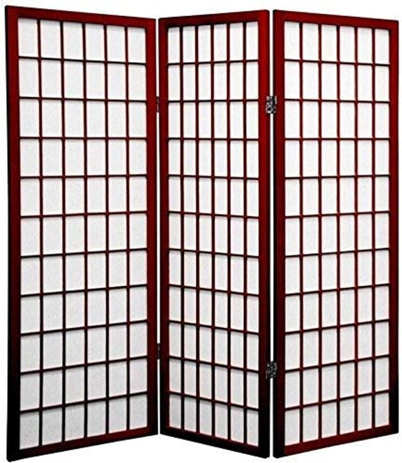 Oriental Furniture 4 ft. Tall Window Rosewoo Cheap Pane - Omaha Mall Shoji Screen