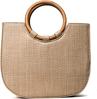 Sponsored Ad - Straw Tote with Round Wooden Handles For Woman Fashion Accessories