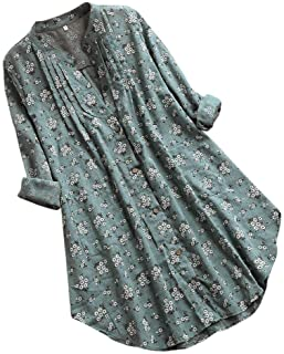 catmoew Mujeres Camisa Impresión de Floral Suelto Manga Larga Tallas Grandes Loose Casual Blusa con Botones en la Parte Su...