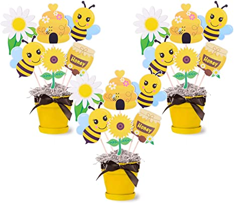 Amazon Com Bumble Bee Party Centerpieces Honey Bee Baby Shower Table Centerpieces Sticks Bee Gender Reveal Birthday Party Photo Props Table Topper Decorations Set Of 18 Kitchen Dining
