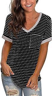 Banbry T-Shirt Damen Sommer Tie Dye/Einfarbig Drucken Oberteile Kurzarm Blusen V-Ausschnitte Shirt Hemd Loose Oversize Frauen Bluse Tops Casual Bedruckt Top Mode Tunika mit Taschen