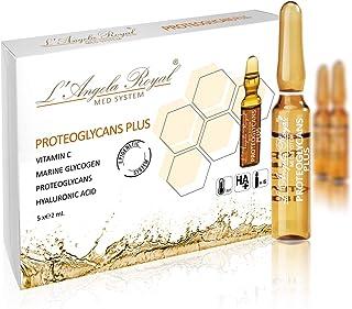 L'Angela Royal Ampollas Proteglycans Plus, Fórmula Hidratante, Con Proteoglicanos, Vitamina C, Ácido Hialurónico, Piel Luminosa, Reduce Manchas, Tratamiento Facial, Para Piel Seca y Mixta, 5 x 2ml