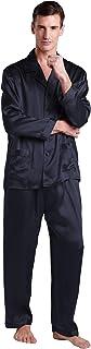 LilySilk (リリーシルク) メンズ パジャマ上下セット 高級シルク100% ルームウェア 静電気防止 光沢があり心地よい肌さわり 透け防止 敏感肌?乾燥肌にお勧め 【耐久性のある22匁/コントラスト付き/長袖】