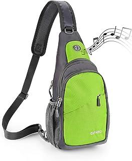 Elfhao Sling Bag Outdoor Waterproof Shoulder Backpack Chest Crossbody Bag Bike Women Men Girls Boys Travel Daypack (Green)
