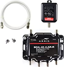 Arris 4-Port Cable, Modem, TV, OTA, Satellite HDTV Amplifier Splitter Signal Booster with Active Return And Coax Cable Pa...