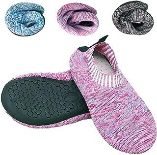 Dream Bridge Kids Non-Slip Slipper Socks Warm Knit Shoes with Soles Rubber Bottom Non Skid Wearable