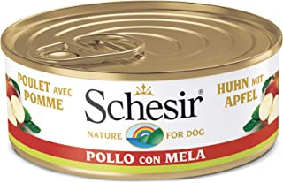 Schesir, Comida húmeda para Perros Adultos, Sabor Pollo con Manzana Preparado con filetes en gelatina con Verdaderos trozo...