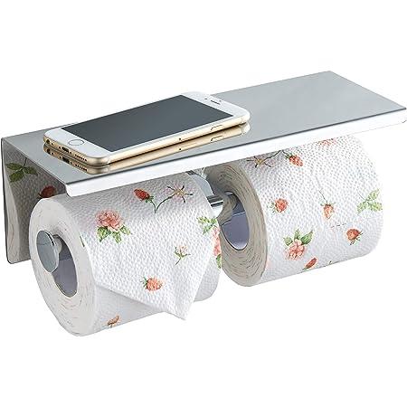 BGL Porte-Papier Toilette Double avec étagère chromée