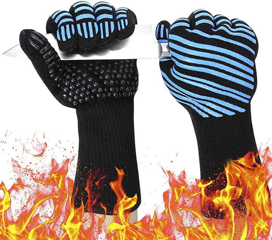 932 Extreme Heat Resistant BBQ Gloves Food Grade Kitchen Oven Mitts Flexible Oven Gloves Silicone Non Slip Cooking Hot Glove For Grilling Baking Blue Palm Width 3 9 In