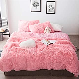 MooWoo 4 PCS Luxury Shaggy Plush Bedding Sets, 1 Fluffy Faux Fur Duvet Cover + 1 Velvet Bed Flat Sheet + 2 Furry Pillow Shams, Zipper Closure, 4 PCS (Pink, Queen)