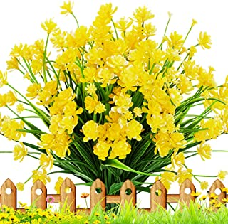 TEMCHY Artificial Daffodils Fake Flowers, 4 Bundles Yellow UV Resistant Faux Greenery Foliage Plants Shrubs for Garden, Wedding, Outside Hanging Planter, Farmhouse Indoor Outdoor Decor