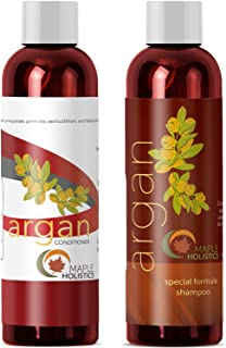 Argan Oil Shampoo and Hair Conditioner Set – Argan Jojoba Almond Oil Peach Kernel..
