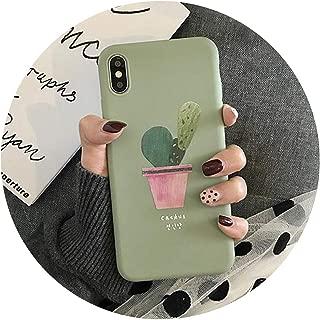 韓国スタイルキャンディーカラーサボテン鉢植え植物パターンTPUソフト電話ケース、 iPhone Xs MAX XR X 6 6S 7 8 Plusのために,緑,ForiPhone8Plus