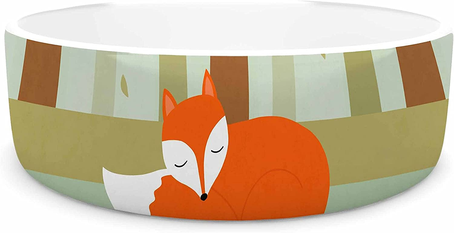 KESS InHouse Cristina Bianco Design Sleeping Fox  Green Illustration Pet Bowl, 7