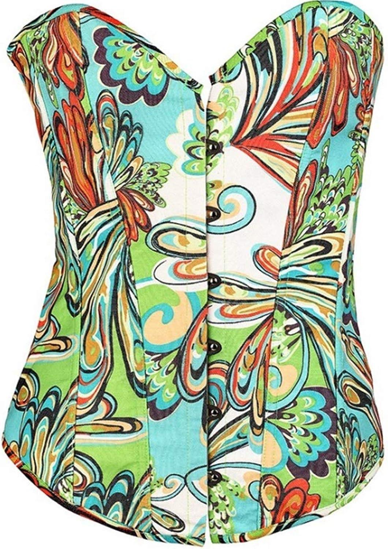 Retro Floral Design Vintage Lady's Bodyshaper Lace Up Sexy Corset Lingerie Set Waist Training Corset Plus Size Satin Women's Lace Up Overbust Lace Trim Waist Cincher Bustier Top With String Wedding Br