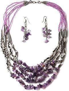 Handmade Coastal Drop Earrings Chips Beaded Statement Necklace Set Purple Glass Silvertone Jewelry for Women