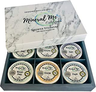 Shower bombs w/Organic Essential Oils - Set of 6 Aromatherapy Steamers for vaporizing Steam Spa Experience - Shower Melts, Bath Bombs for the shower. Perfect Gift for Men and Women