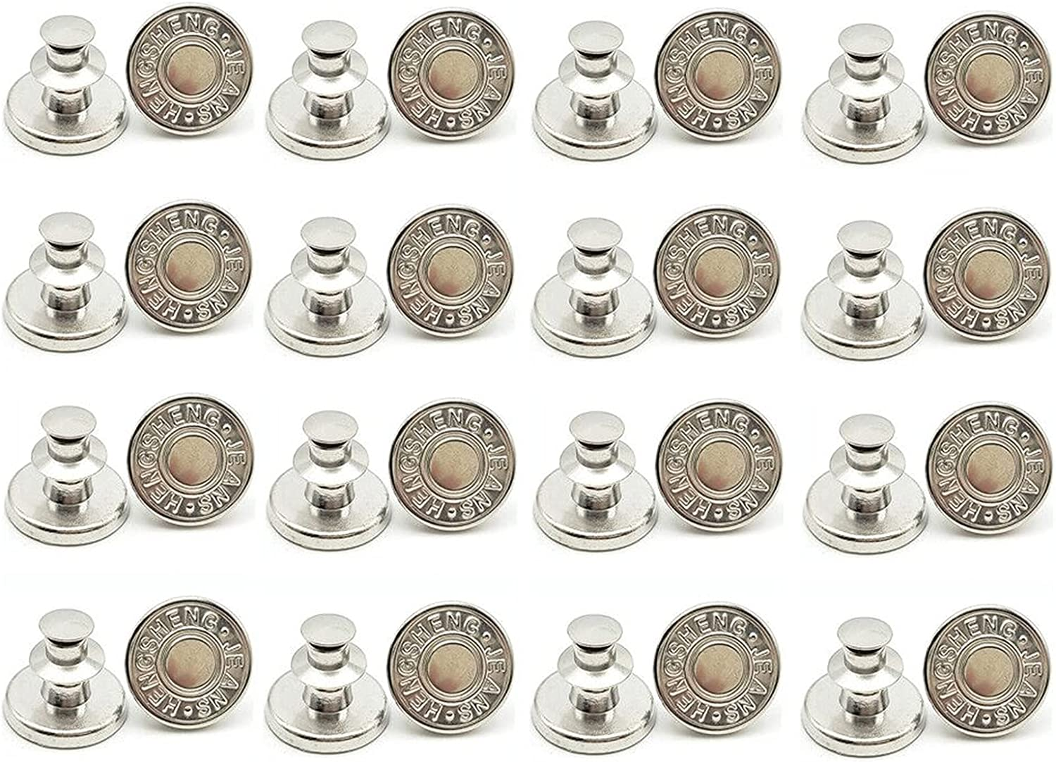 YWDKJGS Jeans Button Pins - Buttons Pins for Jeans - 16 Sets Jea