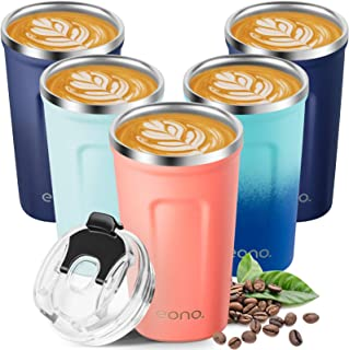 Amazon Brand - Eono Termo Cafe para Llevar 380 ml, Vaso Termico Cafe para Bebidas Frías y Calientes, Reutilizable Taza Ter...