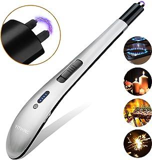 YITHINC - Encendedor eléctrico sin llama, resistente al viento, recargable por USB, para camping, barbacoa, estufa, fuegos artificiales, sin chispa ni olor, color plata, 3627