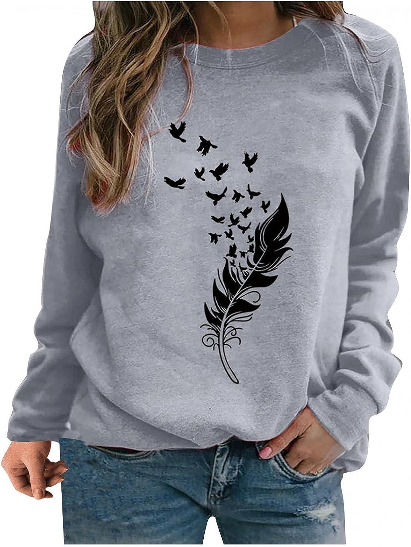 Womens Long Sleeve Tops,Women Sweatshirts Crewneck Trendy Feather Graphic Teen Girls Fashine Pullover Shirts