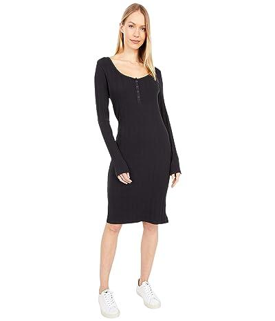 PACT Organic Cotton Ribbed Henley Midi Dress (Black) Women